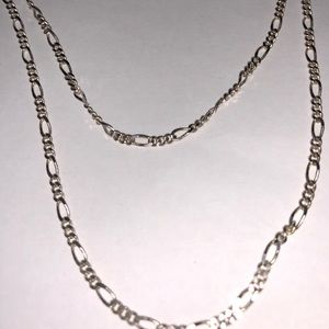 """Figaro Necklace Or Chain Sterling Silver 24"""" 3mm"""